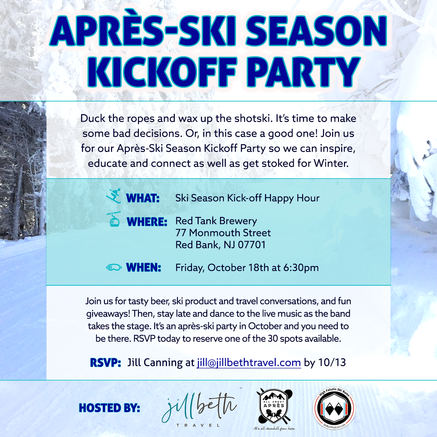Apres-Ski Season Kickoff Party – October 18th, Red Bank, NJ