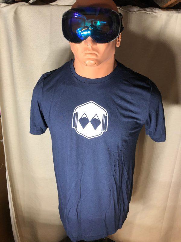 white logo tshirt - blue